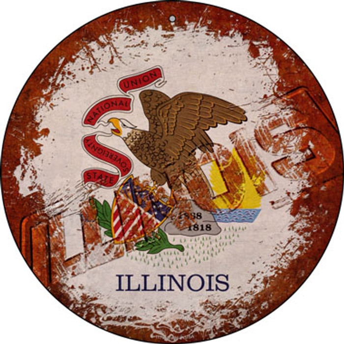 Illinois Rusty Stamped Novelty Metal Circular Sign C-1178