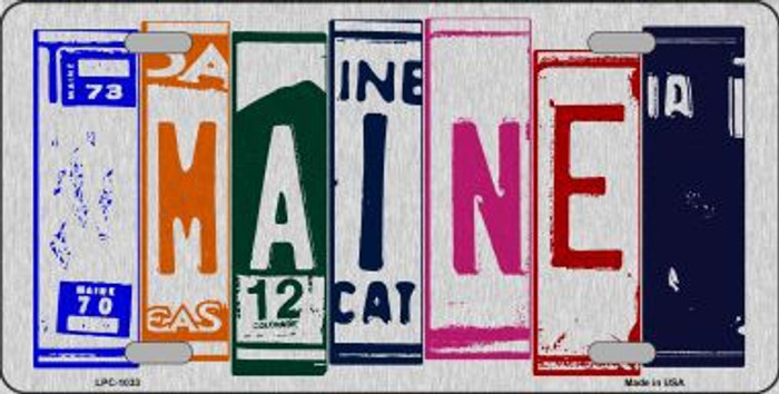 Maine License Plate Art Brushed Aluminum Metal Novelty License Plate
