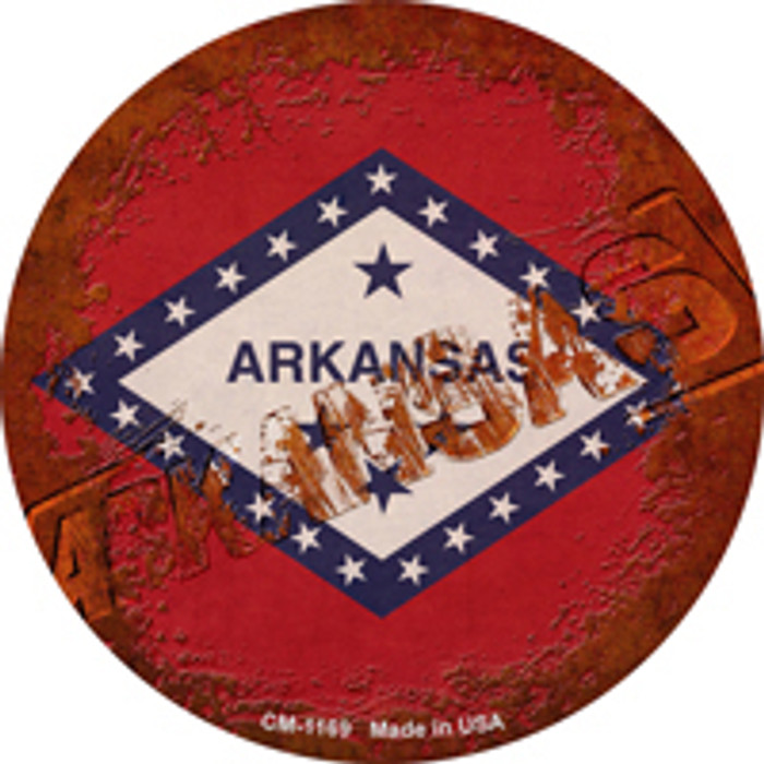 Arkansas Rusty Stamped Novelty Mini Metal Circle Magnet CM-1169