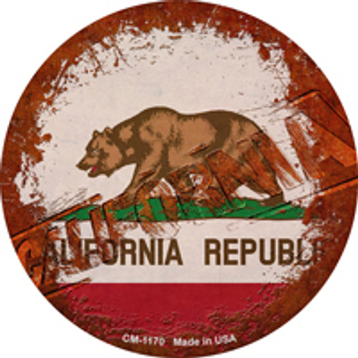 California Rusty Stamped Novelty Mini Metal Circle Magnet CM-1170
