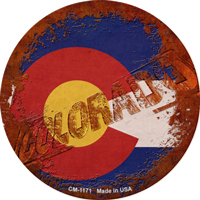 Colorado Rusty Stamped Novelty Mini Metal Circle Magnet CM-1171