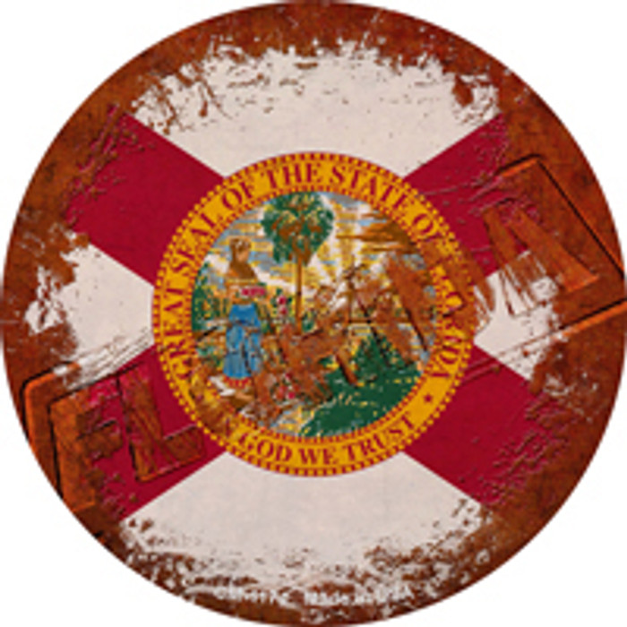 Florida Rusty Stamped Novelty Mini Metal Circle Magnet CM-1174