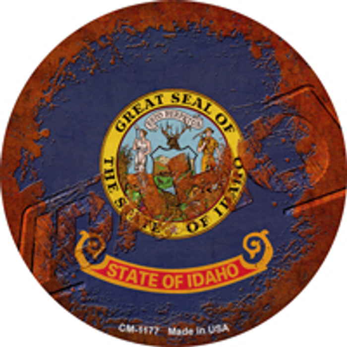 Idaho Rusty Stamped Novelty Mini Metal Circle Magnet CM-1177