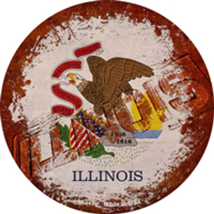Illinois Rusty Stamped Novelty Mini Metal Circle Magnet CM-1178