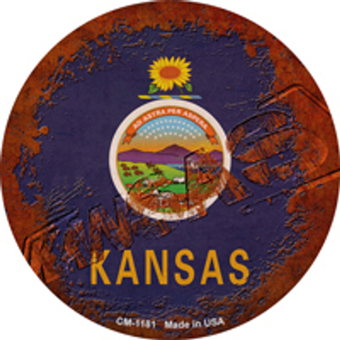 Kansas Rusty Stamped Novelty Mini Metal Circle Magnet CM-1181