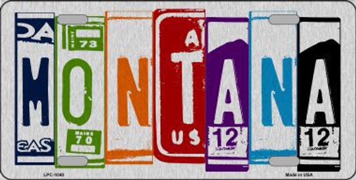 Montana License Plate Art Brushed Aluminum Metal Novelty License Plate