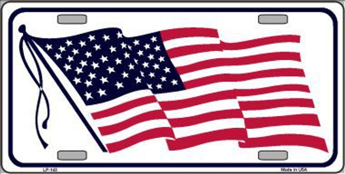 American Flag Waving White Metal Novelty License Plate