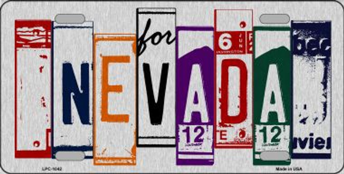 Nevada License Plate Art Brushed Aluminum Metal Novelty License Plate