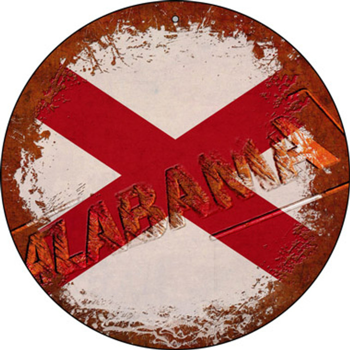 Alabama Rusty Stamped Novelty Small Metal Circular Sign UC-1166
