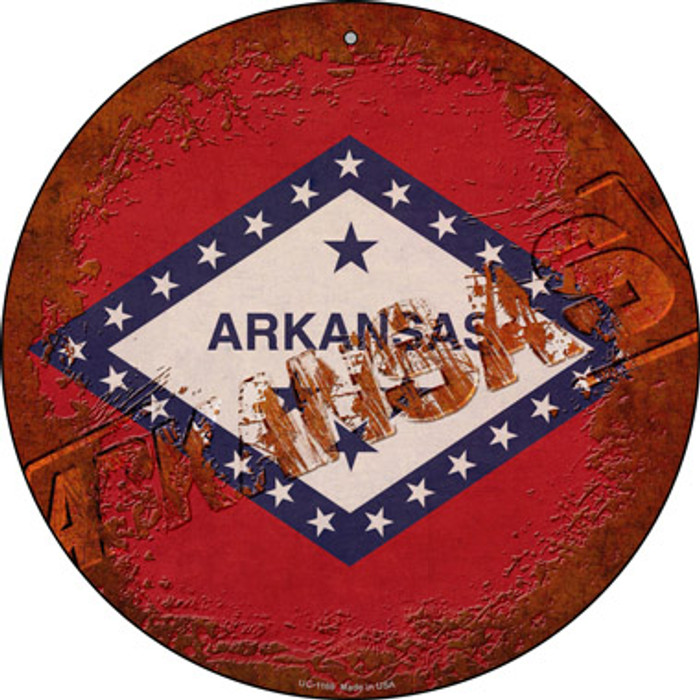 Arkansas Rusty Stamped Novelty Small Metal Circular Sign UC-1169