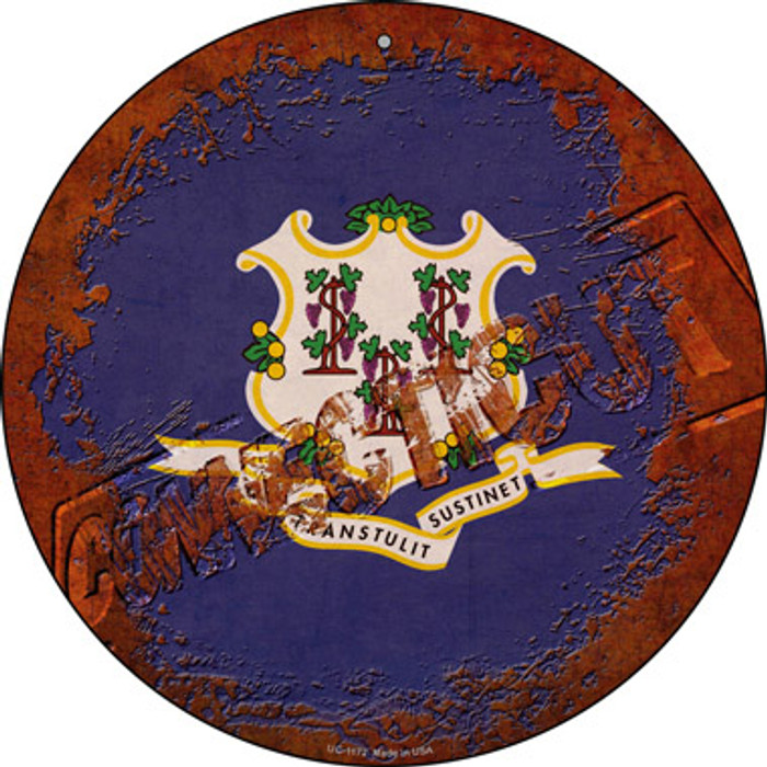 Connecticut Rusty Stamped Novelty Small Metal Circular Sign UC-1172