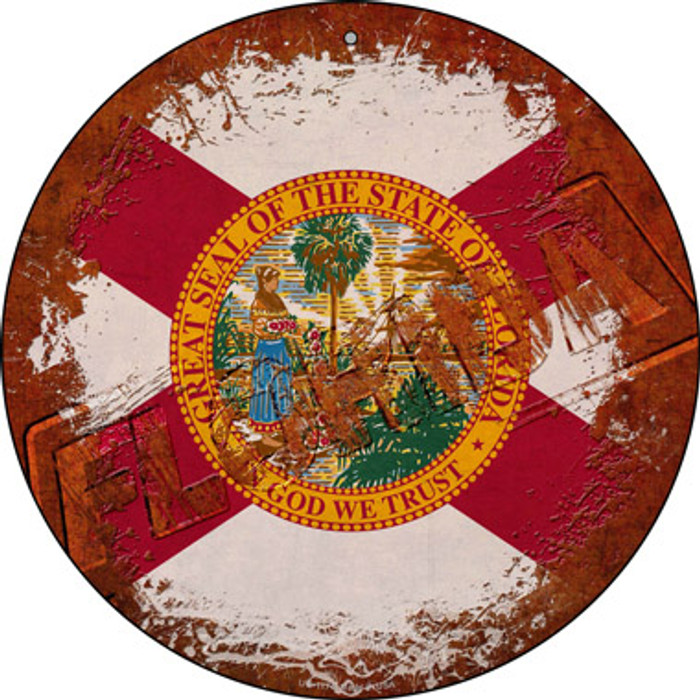 Florida Rusty Stamped Novelty Small Metal Circular Sign UC-1174