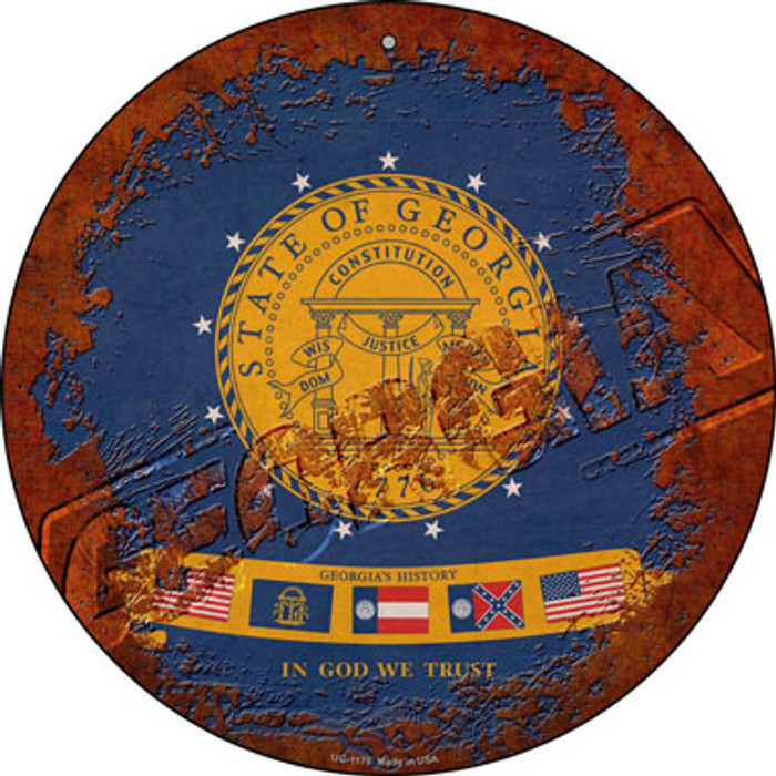 Georgia Rusty Stamped Novelty Small Metal Circular Sign UC-1175