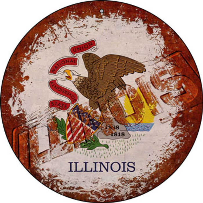Illinois Rusty Stamped Novelty Small Metal Circular Sign UC-1178