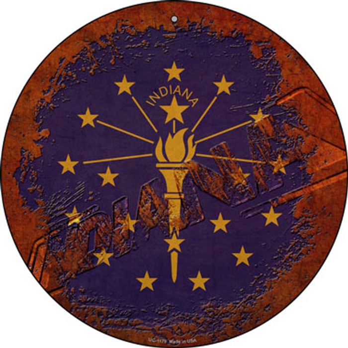 Indiana Rusty Stamped Novelty Small Metal Circular Sign UC-1179