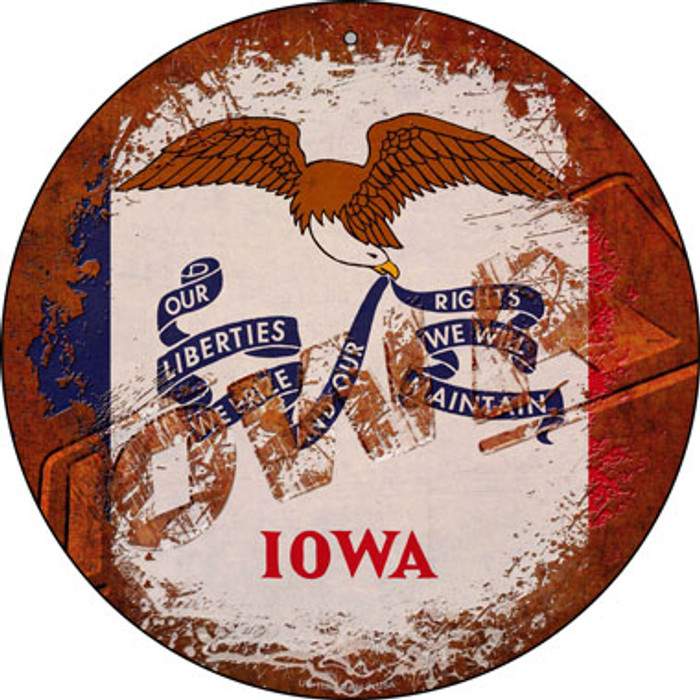 Iowa Rusty Stamped Novelty Small Metal Circular Sign UC-1180
