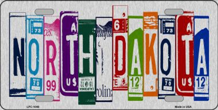 North Dakota License Plate Art Brushed Aluminum Metal Novelty License Plate