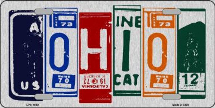 Ohio License Plate Art Brushed Aluminum Metal Novelty License Plate