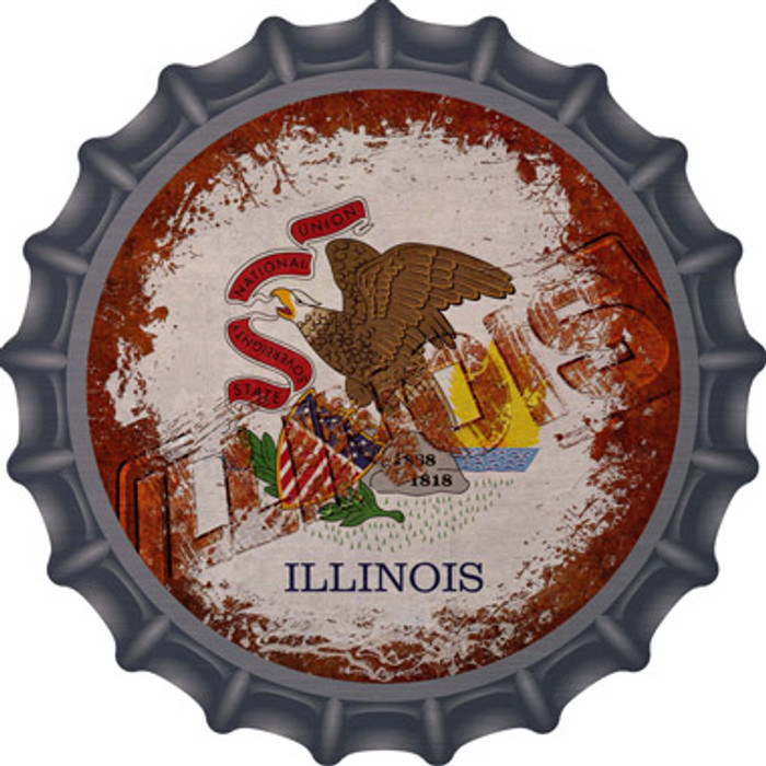 Illinois Rusty Stamped Novelty Metal Bottle Cap BC-1178