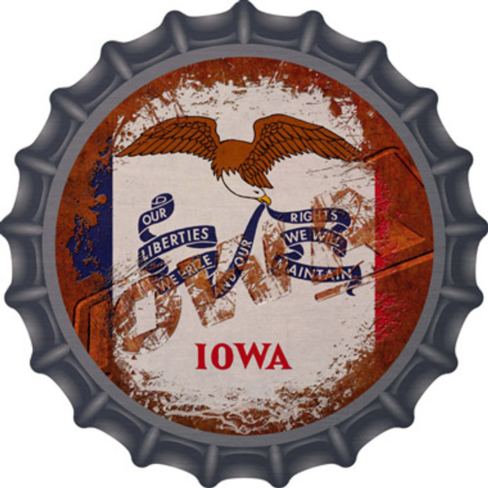 Iowa Rusty Stamped Novelty Metal Bottle Cap BC-1180