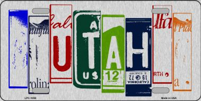 Utah License Plate Art Brushed Aluminum Metal Novelty License Plate