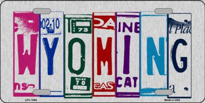 Wyoming License Plate Art Brushed Aluminum Metal Novelty License Plate