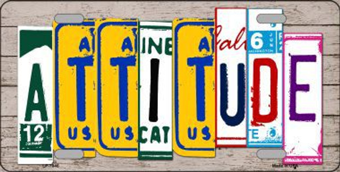 Attitude License Plate Art Wood Pattern Metal Novelty License Plate