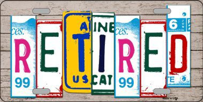 Retired License Plate Art Wood Pattern Metal Novelty License Plate