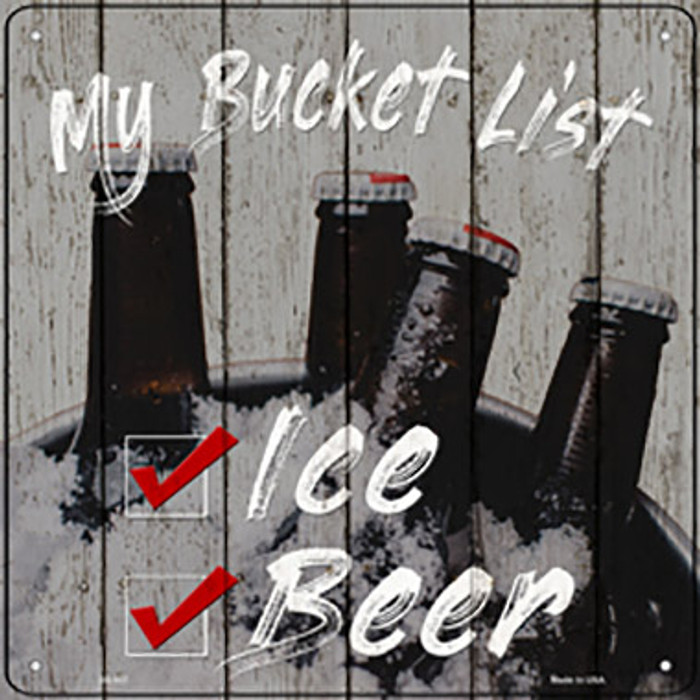 Beer Bucket List Novelty Metal Square Sign SQ-937