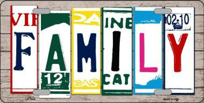 Family License Plate Art Wood Pattern Metal Novelty License Plate