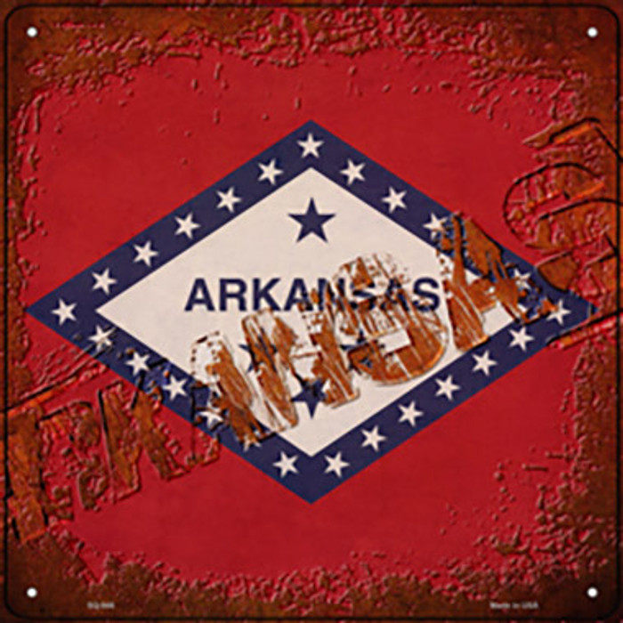 Arkansas Rusty Stamped Novelty Metal Square Sign SQ-946