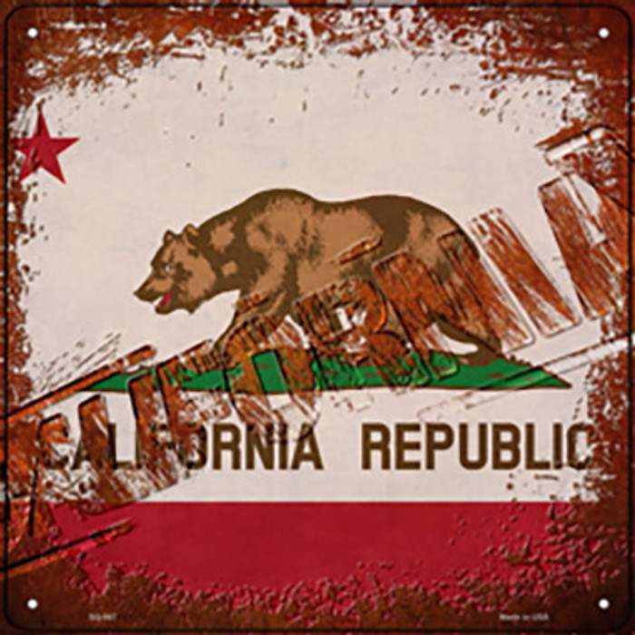 California Rusty Stamped Novelty Metal Square Sign SQ-947