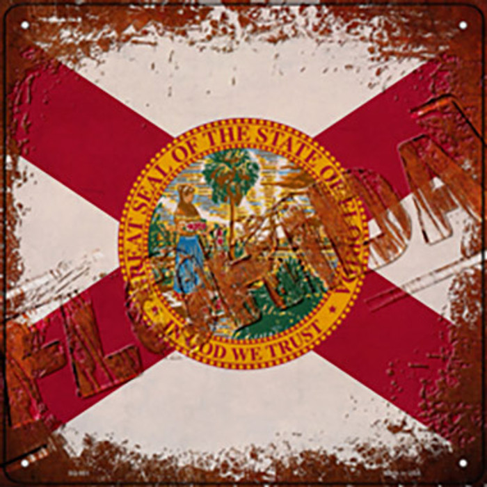 Florida Rusty Stamped Novelty Metal Square Sign SQ-951