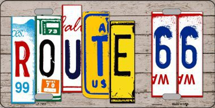 Route 66 License Plate Art Wood Pattern Metal Novelty License Plate