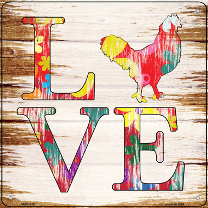 Love Colorful Chicken Novelty Mini Metal Square Sign MSQ-930