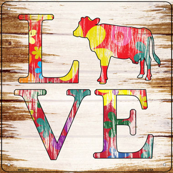 Love Colorful Cow Novelty Mini Metal Square Sign MSQ-931