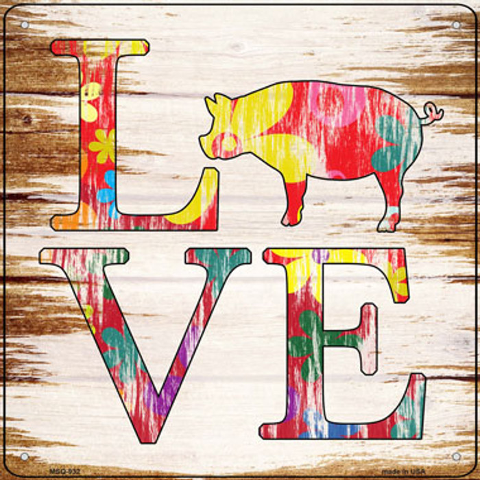 Love Colorful Pig Novelty Mini Metal Square Sign MSQ-932