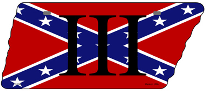 Confederate Three Percenter Novelty Metal Tennessee License Plate Tag TN-094