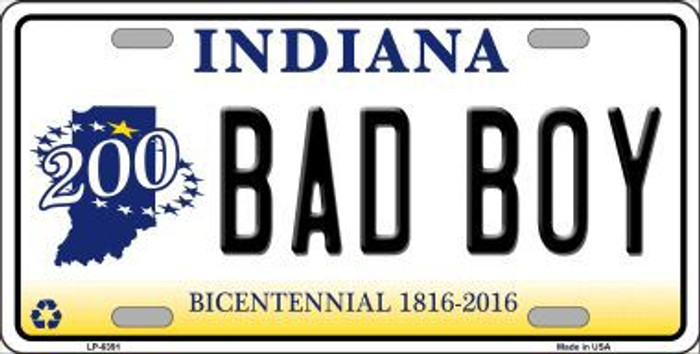 Bad Boy Indiana Novelty Metal License Plate