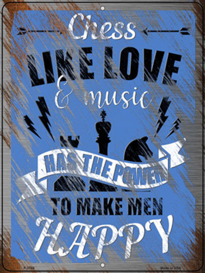 Chess Like Love & Music Novelty Metal Parking Sign P-3169
