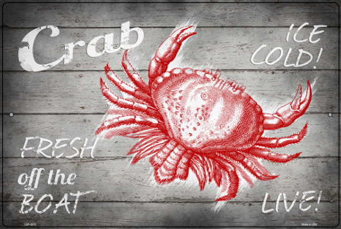 Crab Fresh off the Boat Novelty Large Metal Parking Sign LGP-2972