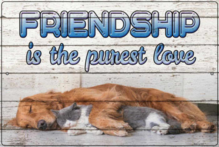 Friendship Is The Purest Love Novelty Large Metal Parking Sign LGP-3046
