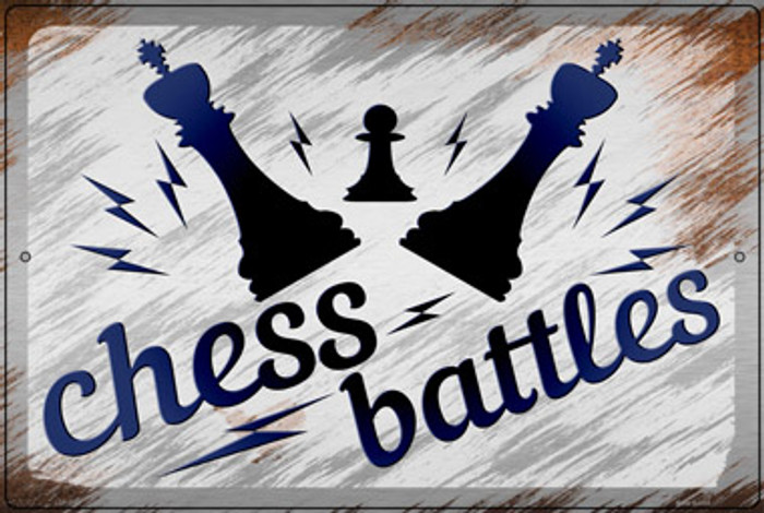 Chess Battles Novelty Large Metal Parking Sign LGP-3158