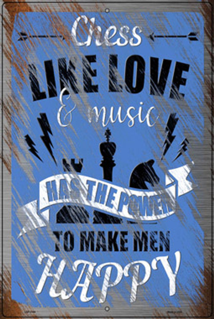 Chess Like Love & Music Novelty Large Metal Parking Sign LGP-3169