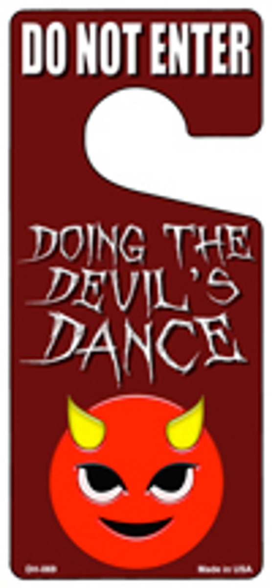 Doing The Devils Dance Novelty Metal Door Hanger DH-069