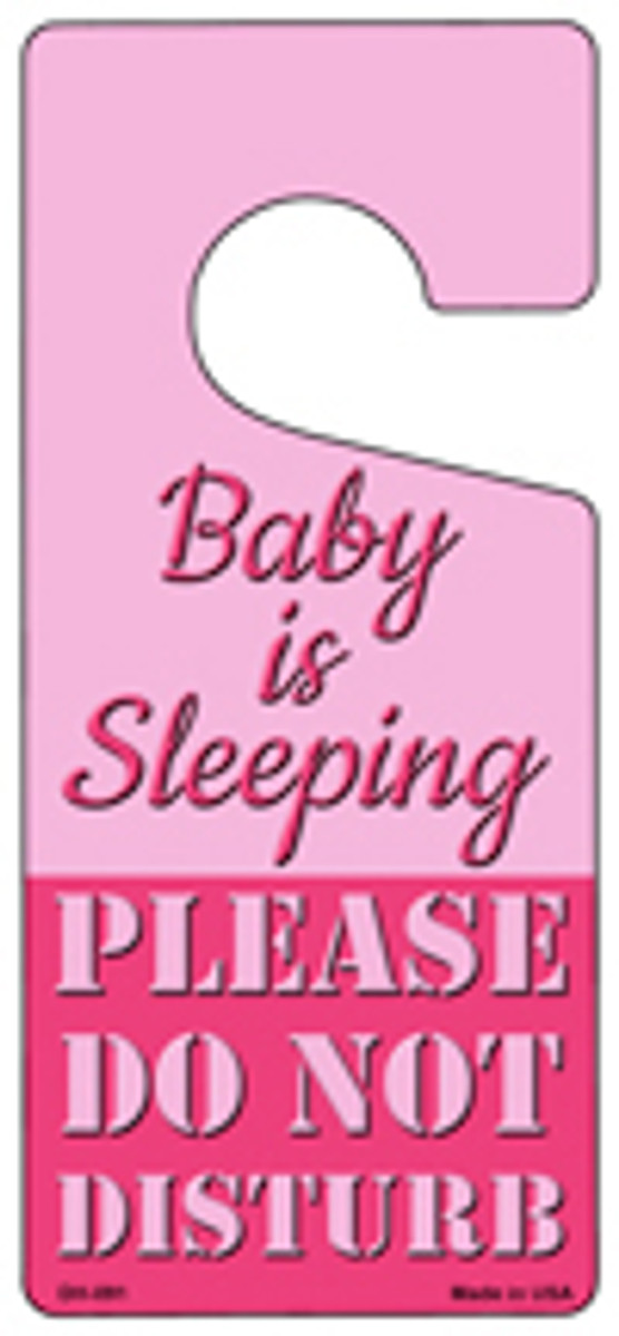 Baby Is Sleeping Pink Novelty Metal Door Hanger DH-091