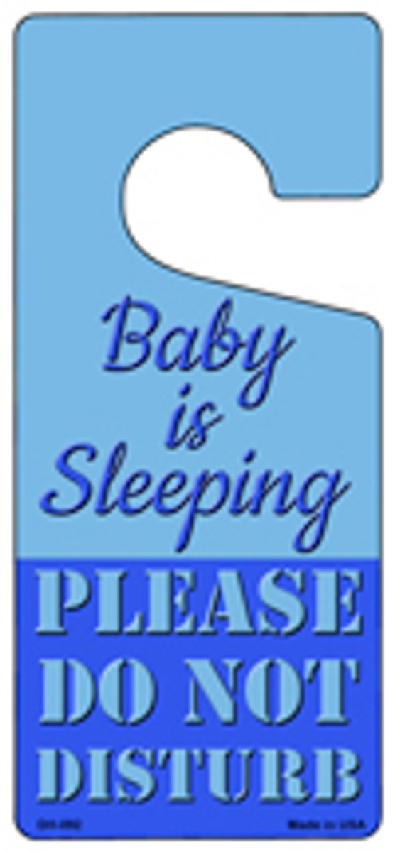 Baby Is Sleeping Blue Novelty Metal Door Hanger DH-092