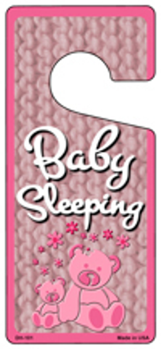 Baby Sleeping Pink Novelty Metal Door Hanger DH-101
