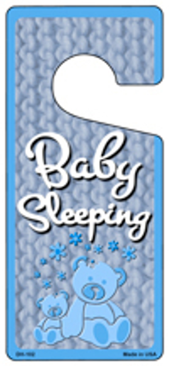 Baby Sleeping Blue Novelty Metal Door Hanger DH-102