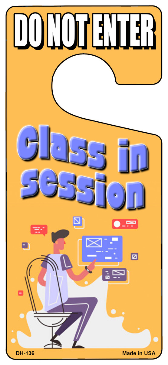 Class In Session Yellow Novelty Metal Door Hanger DH-136